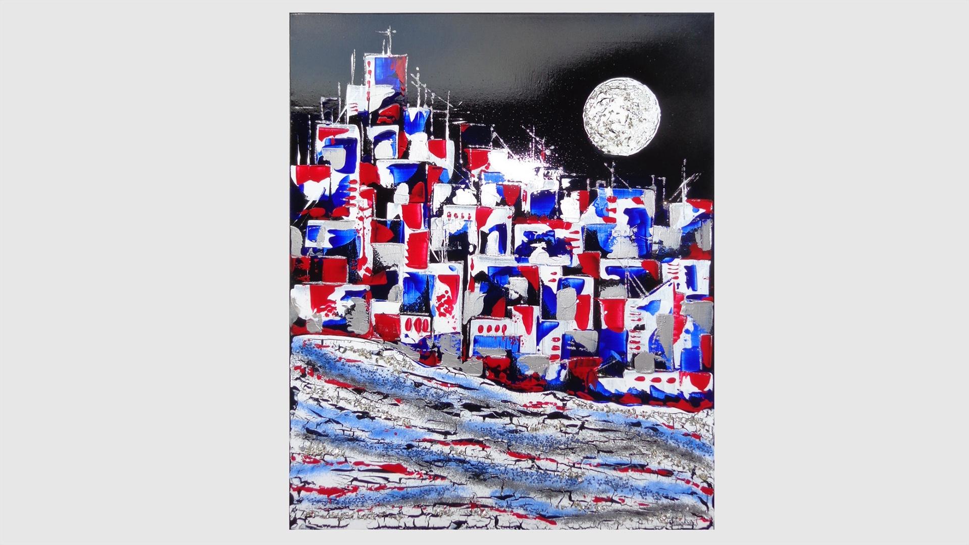 Città astratta in rosso e in blu | Vendita Quadri Online | Quadri ...