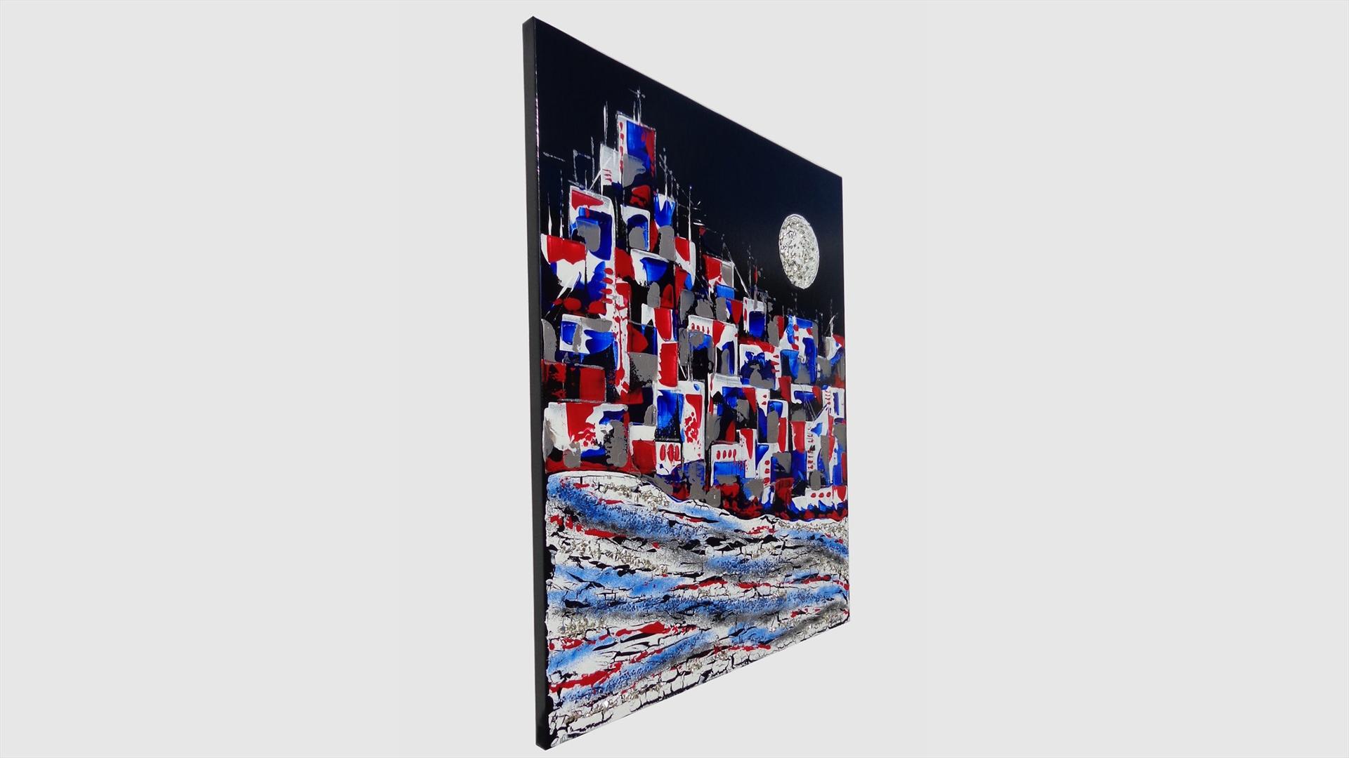 Citt astratta in rosso e in blu vendita quadri online for Quadri astratti dipinti a mano