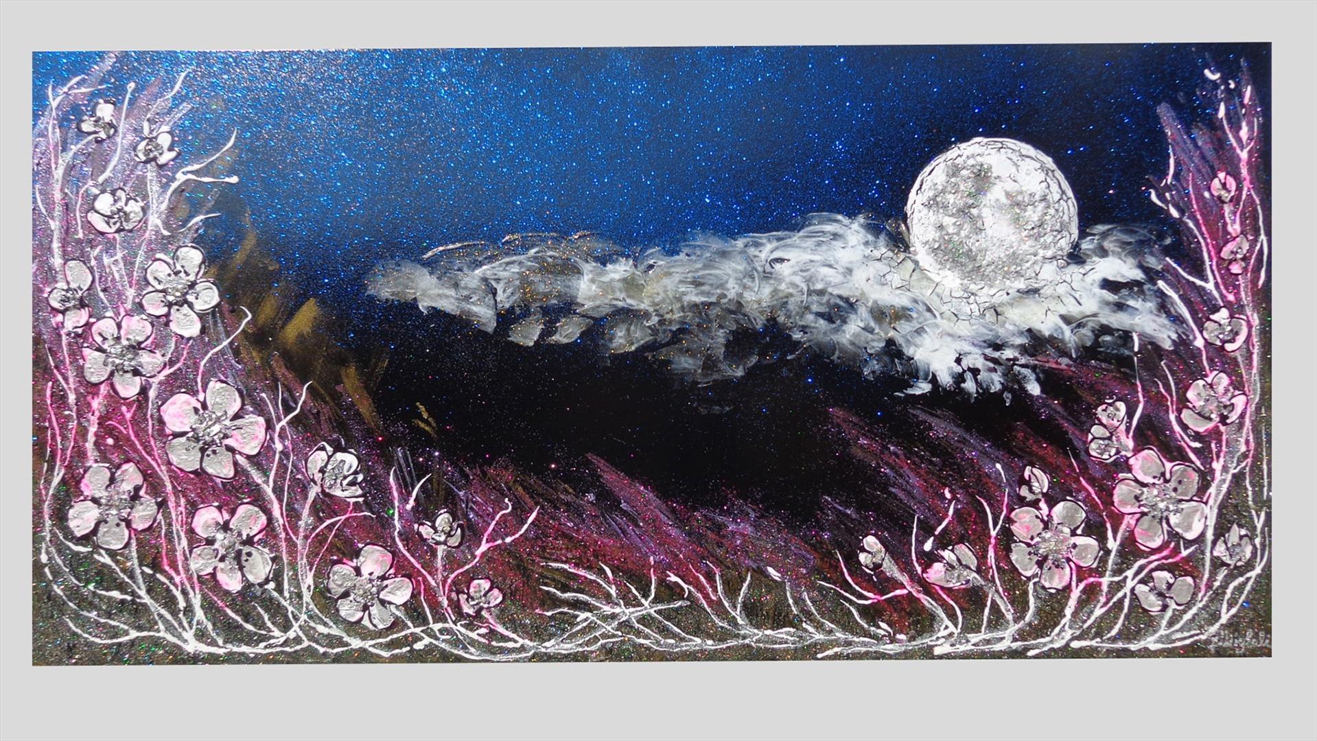 Luna di notte con fiori | Vendita Quadri Online | Quadri moderni ...