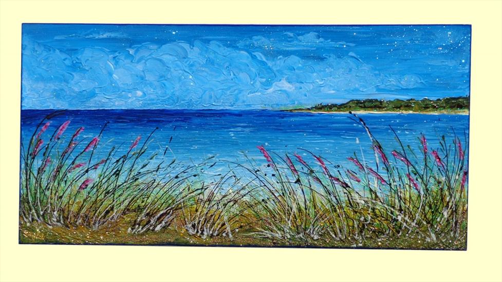 Paesaggio di mare e cespugli vendita quadri online for Quadri dipinti a mano paesaggi