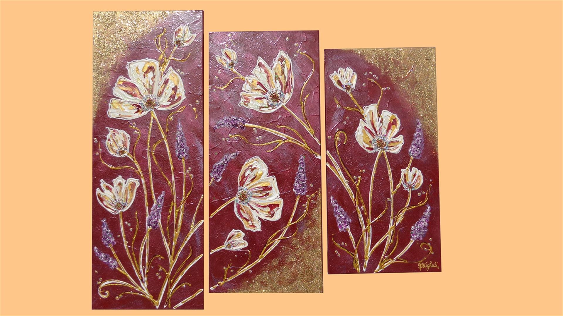 Trittico fiori in rilievo vendita quadri online quadri for Quadri astratti on line