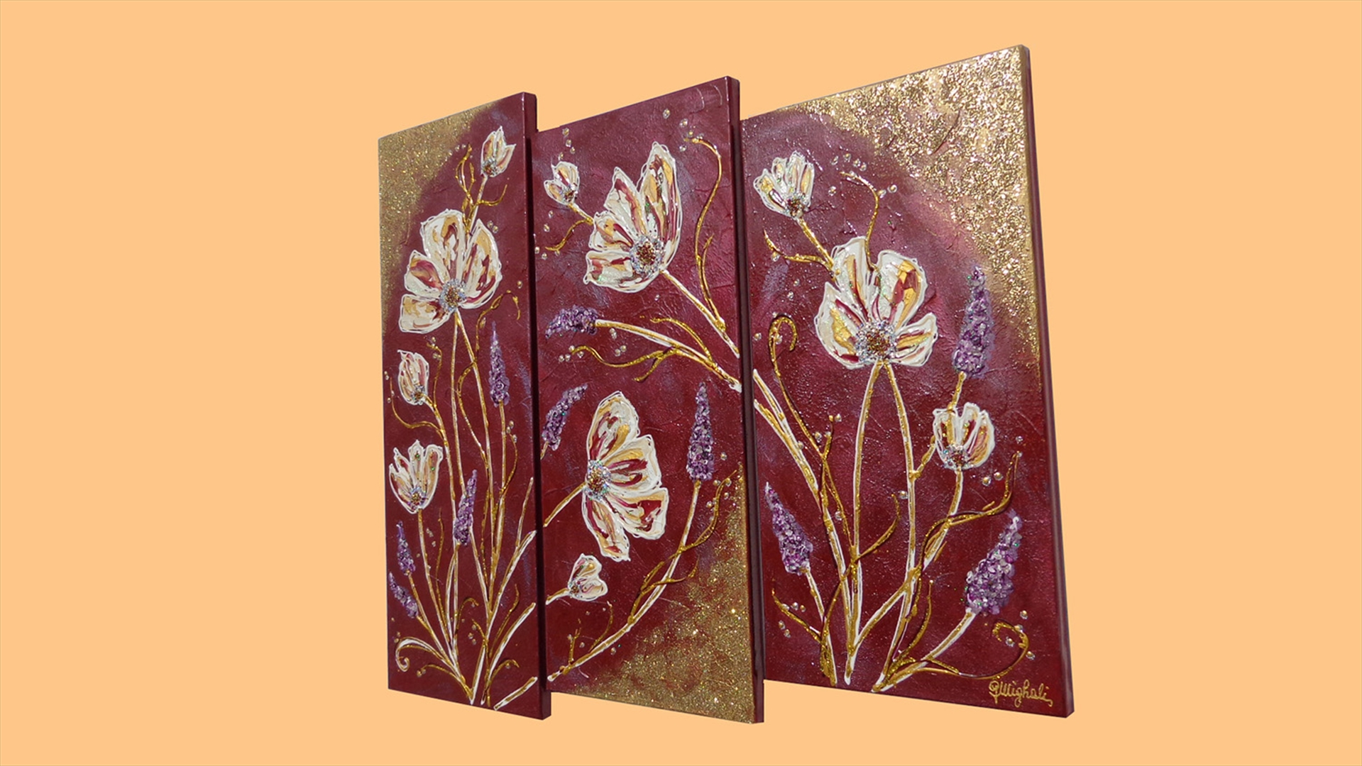 Trittico fiori in rilievo vendita quadri online quadri for Quadri in rilievo