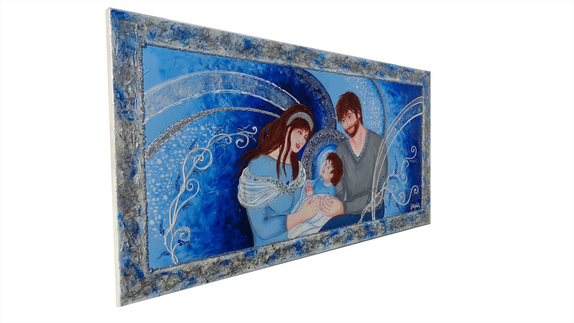 Sacra famiglia moderna in blu vendita quadri online - Quadri per casa moderna ...