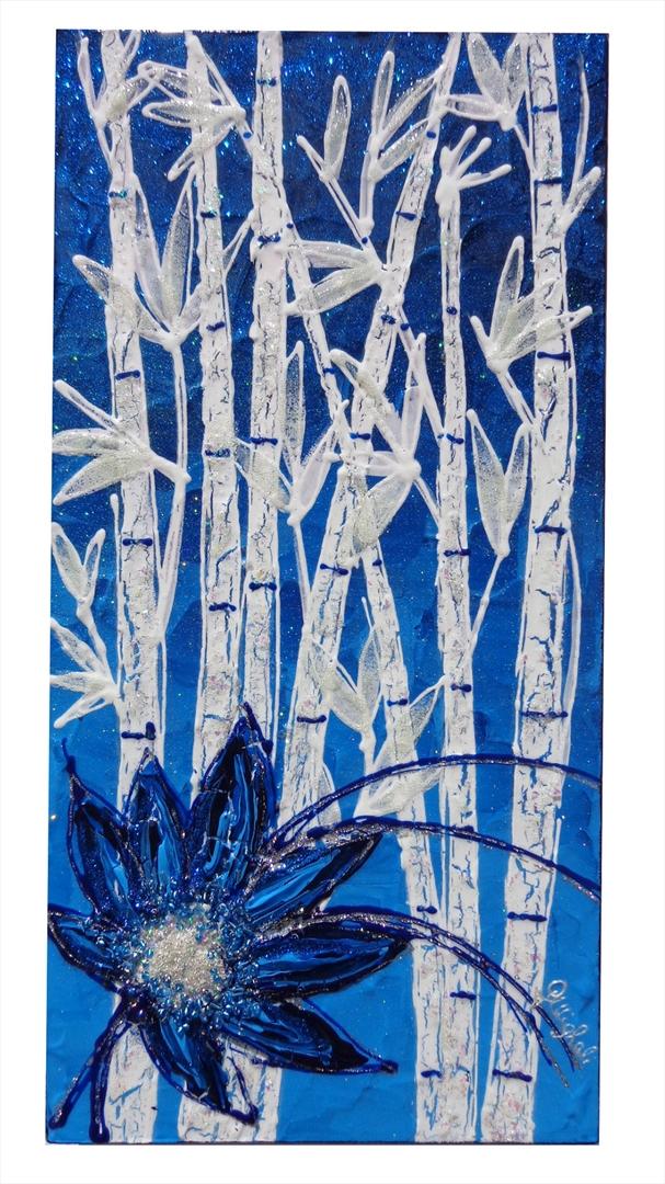 Bamb e fiore blu in verticale vendita quadri online for Quadri moderni in verticale