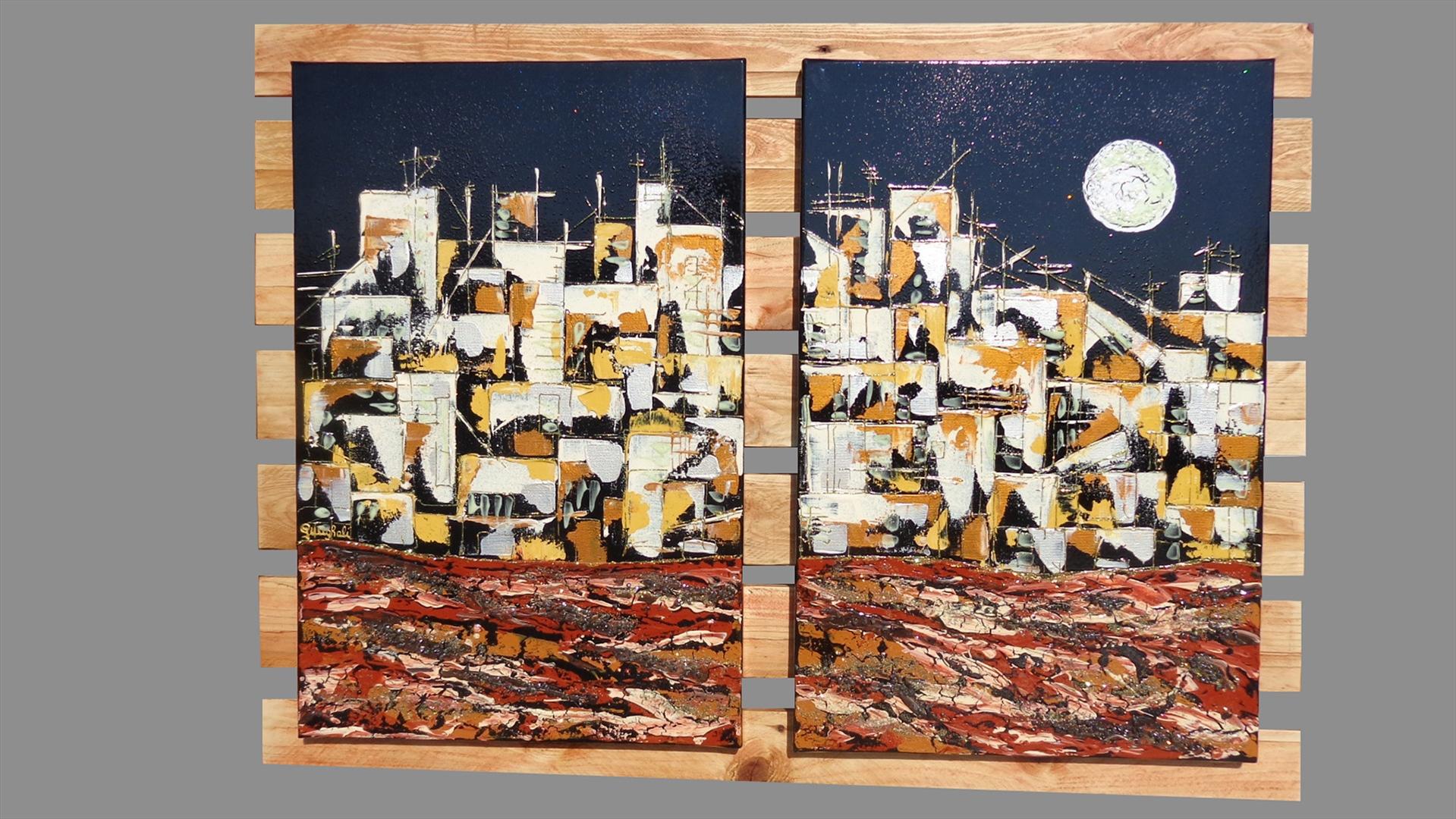 Paesaggio urbano con luna vendita quadri online quadri for Quadri materici astratti