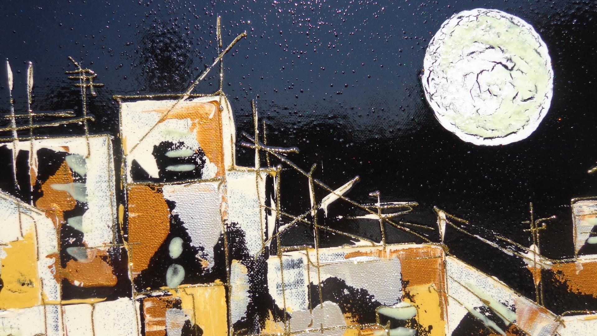 Paesaggio urbano con luna   Vendita Quadri Online   Quadri moderni ...