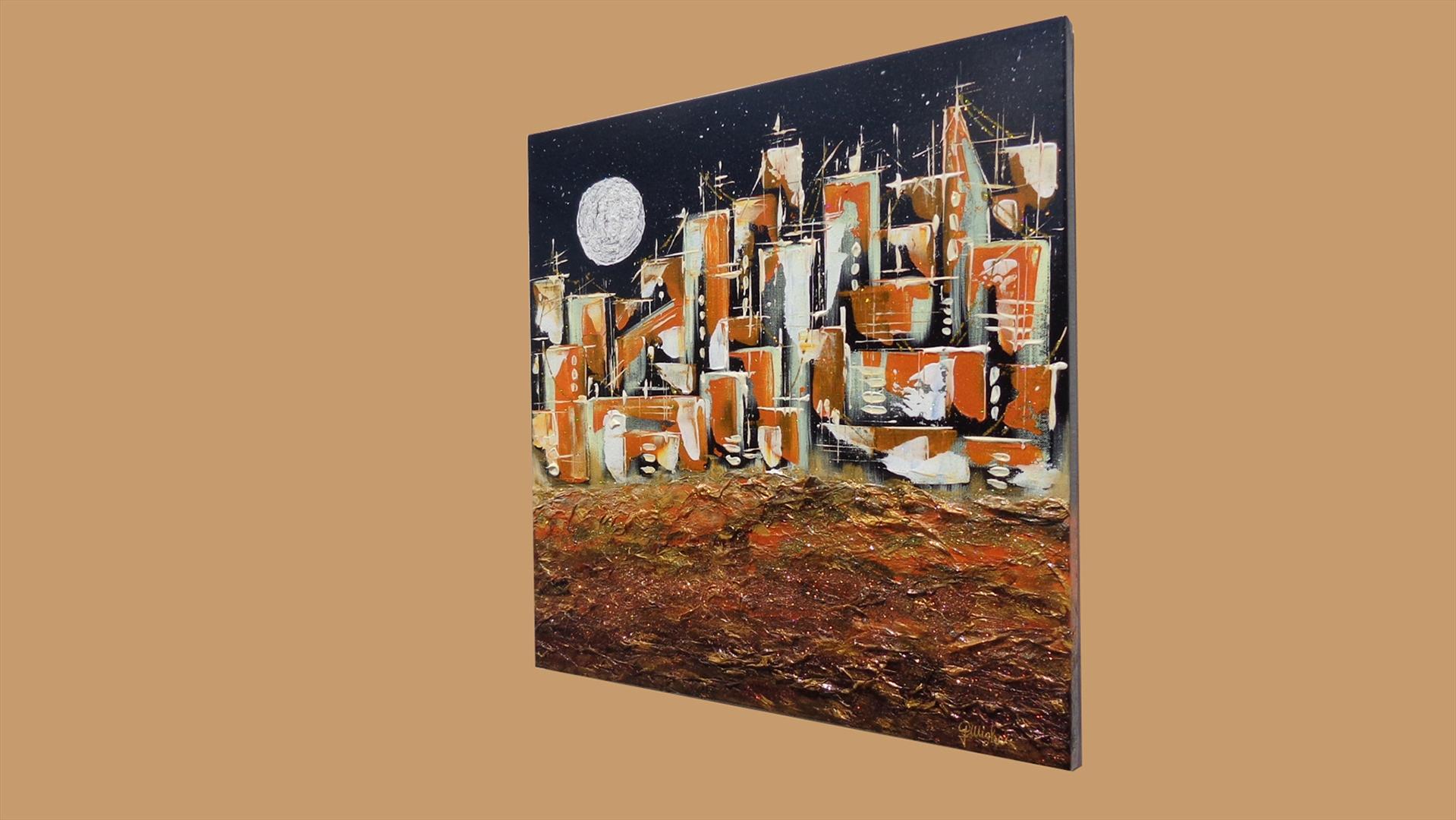Citt di notte con luna vendita quadri online quadri for Quadri moderni astratti dipinti a mano