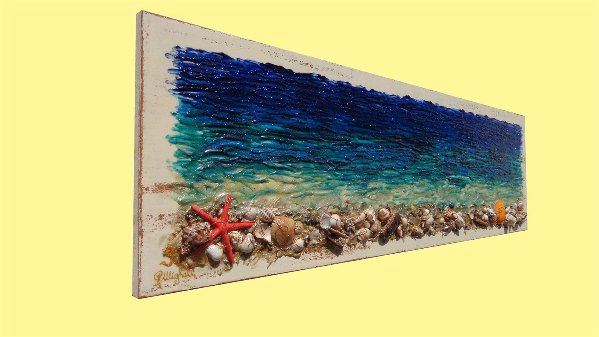 Conchiglie di mare su legno | Vendita Quadri Online | Quadri moderni ...