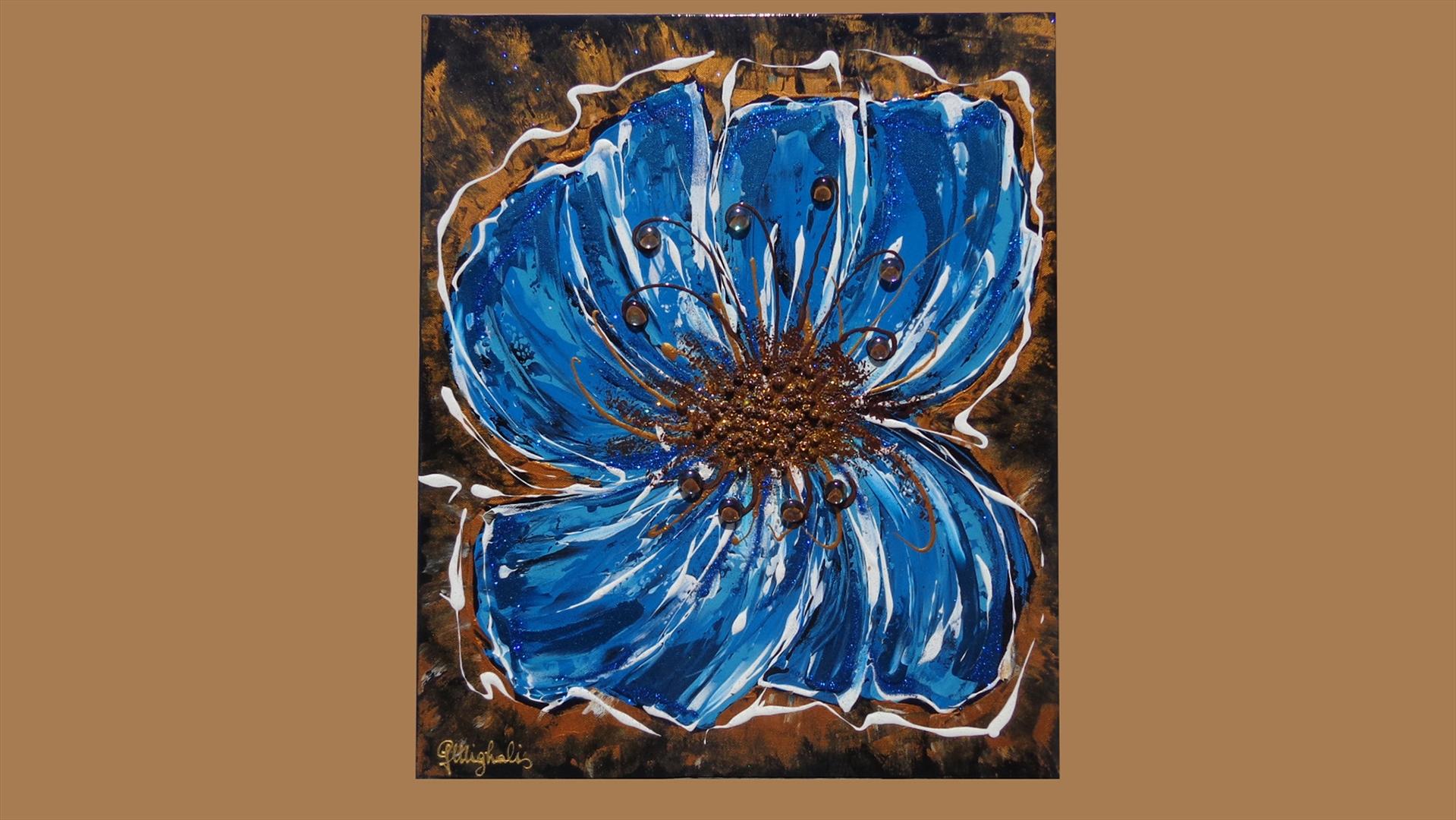 Farfalla-Fiore blu   Vendita Quadri Online   Quadri moderni ...