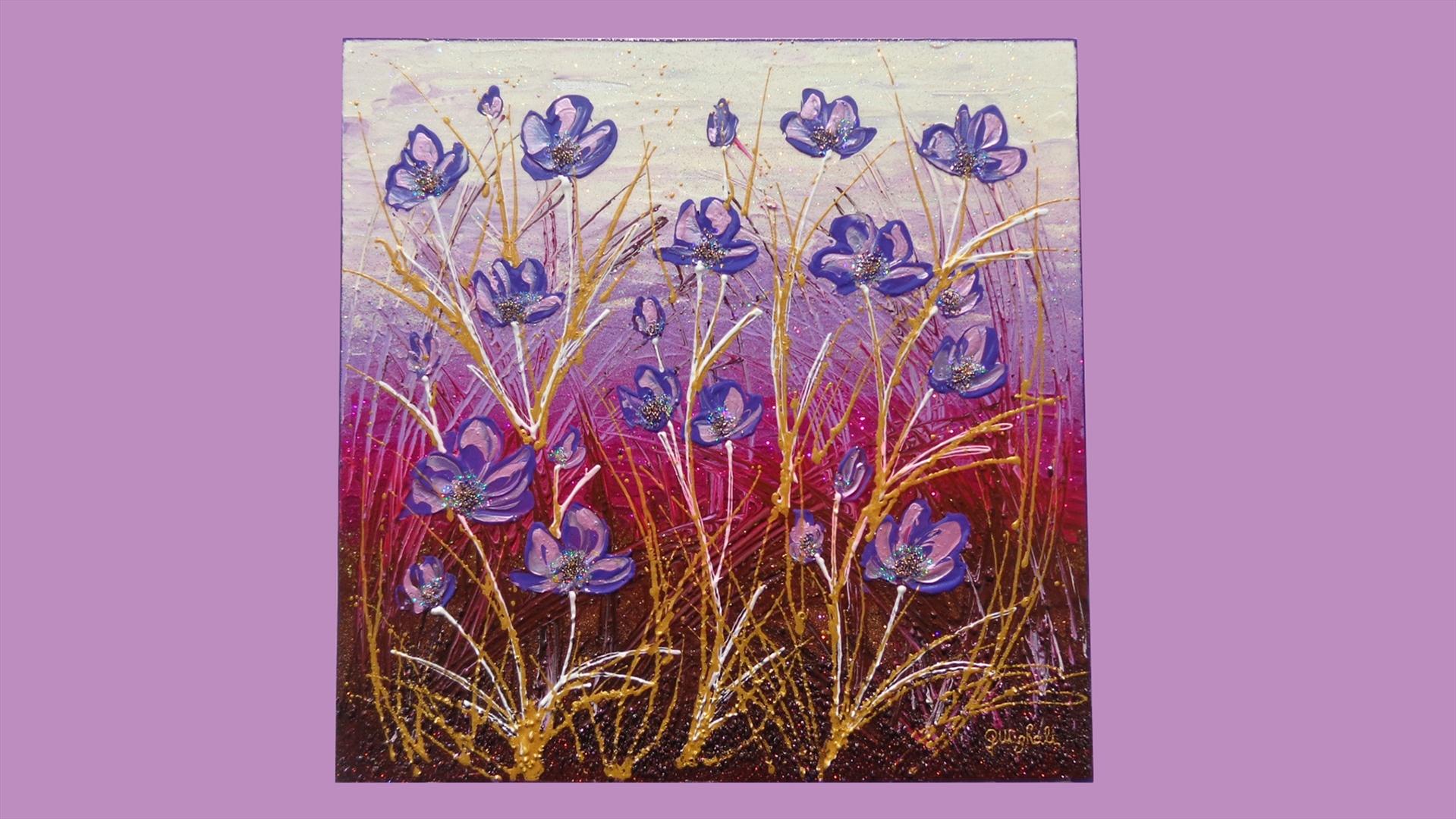 Fiori astratti viola vendita quadri online quadri for Immagini di quadri con fiori