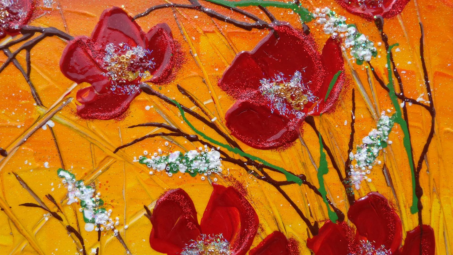 Fiori rossi rampicanti vendita quadri online quadri for Quadri moderni fiori dipinti a mano