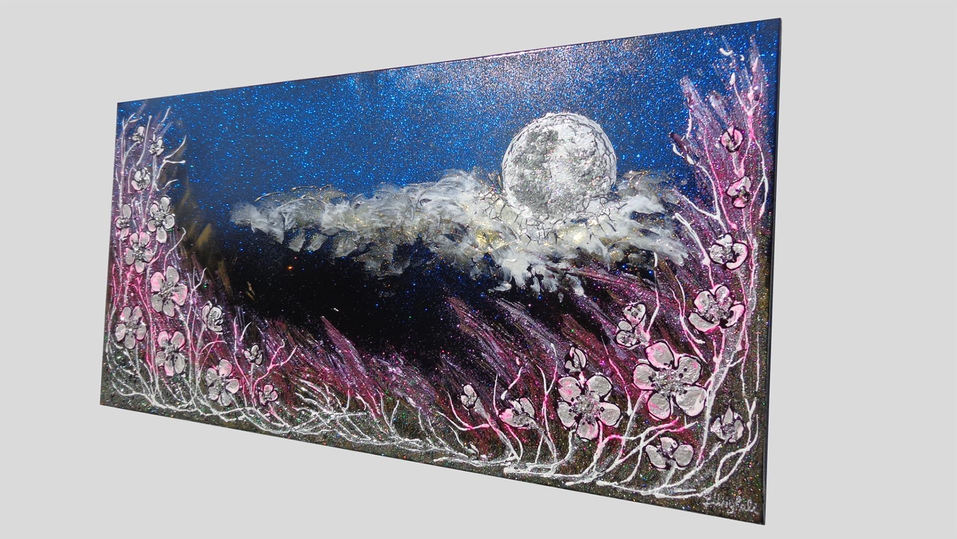 Luna di notte con fiori vendita quadri online quadri for Quadri fiori stilizzati