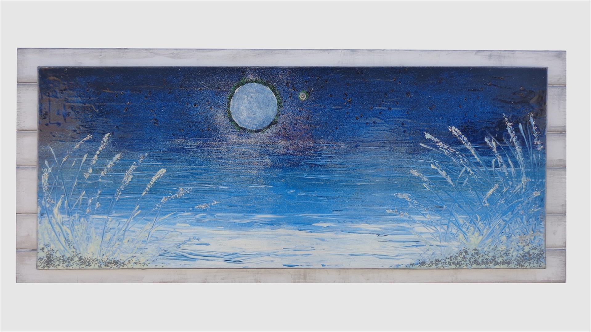 Luna sul mare con stella   Vendita Quadri Online   Quadri moderni ...
