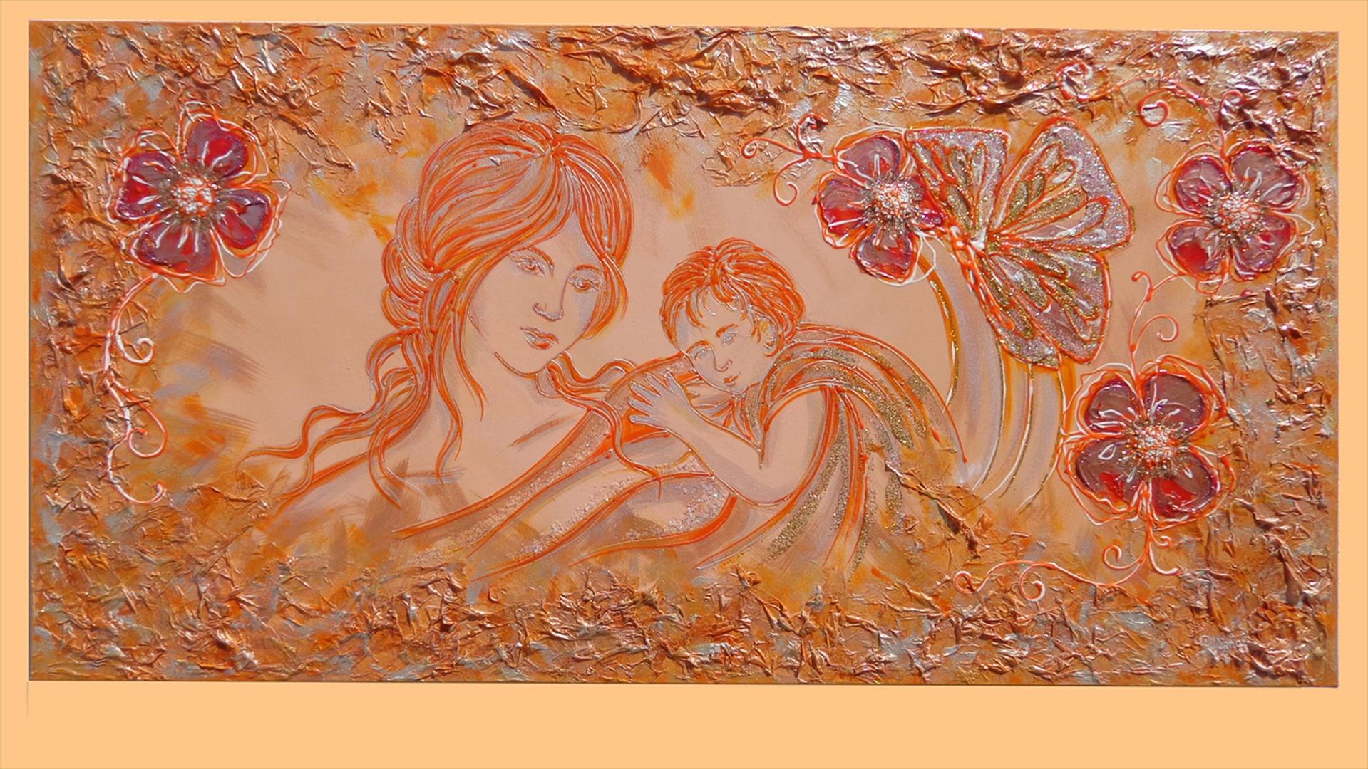 Maternit e fiori arancio vendita quadri online quadri for Immagini quadri fiori