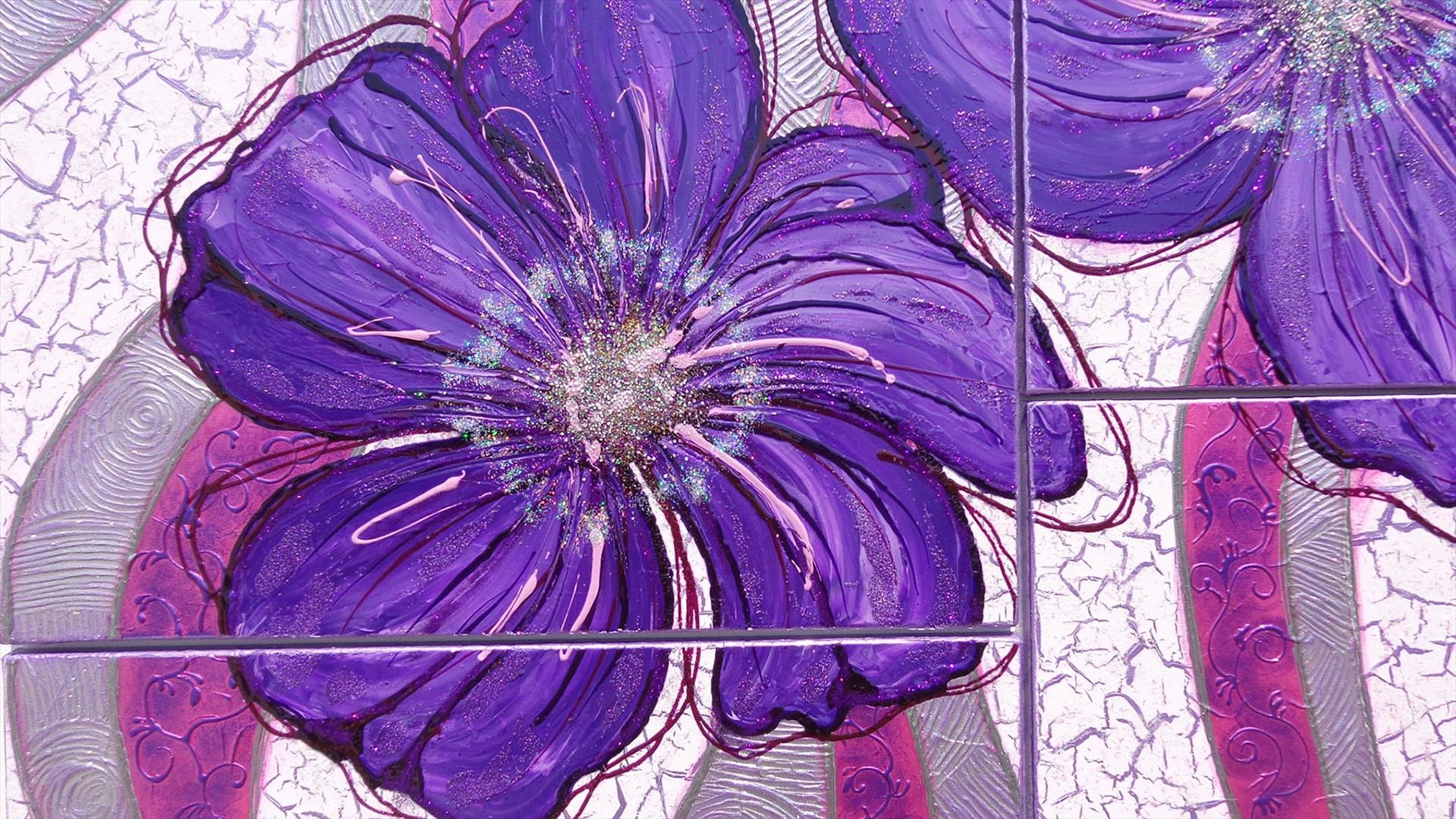Modulare floreale moderno fiori viola vendita quadri for Dipinti a mano moderni