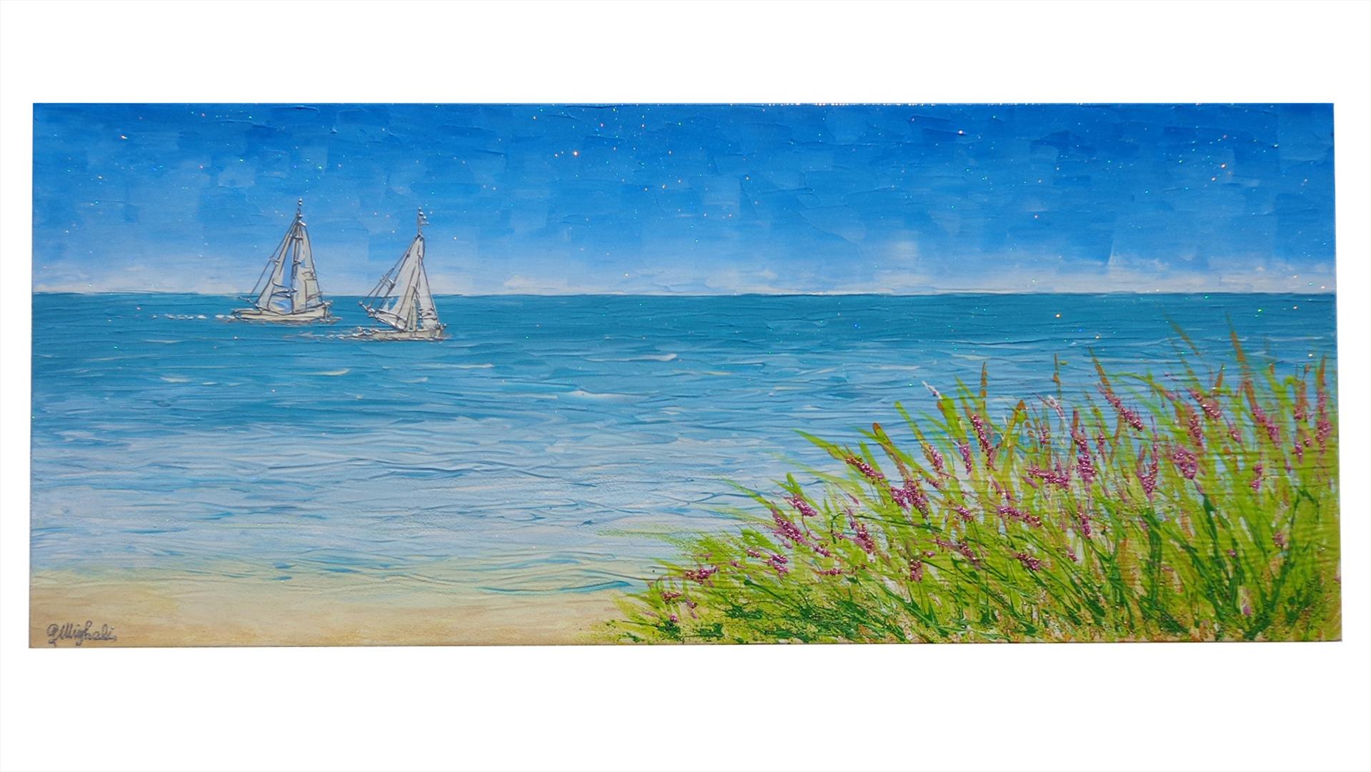 Paesaggio di mare con barche vendita quadri online quadri for Quadri semplici