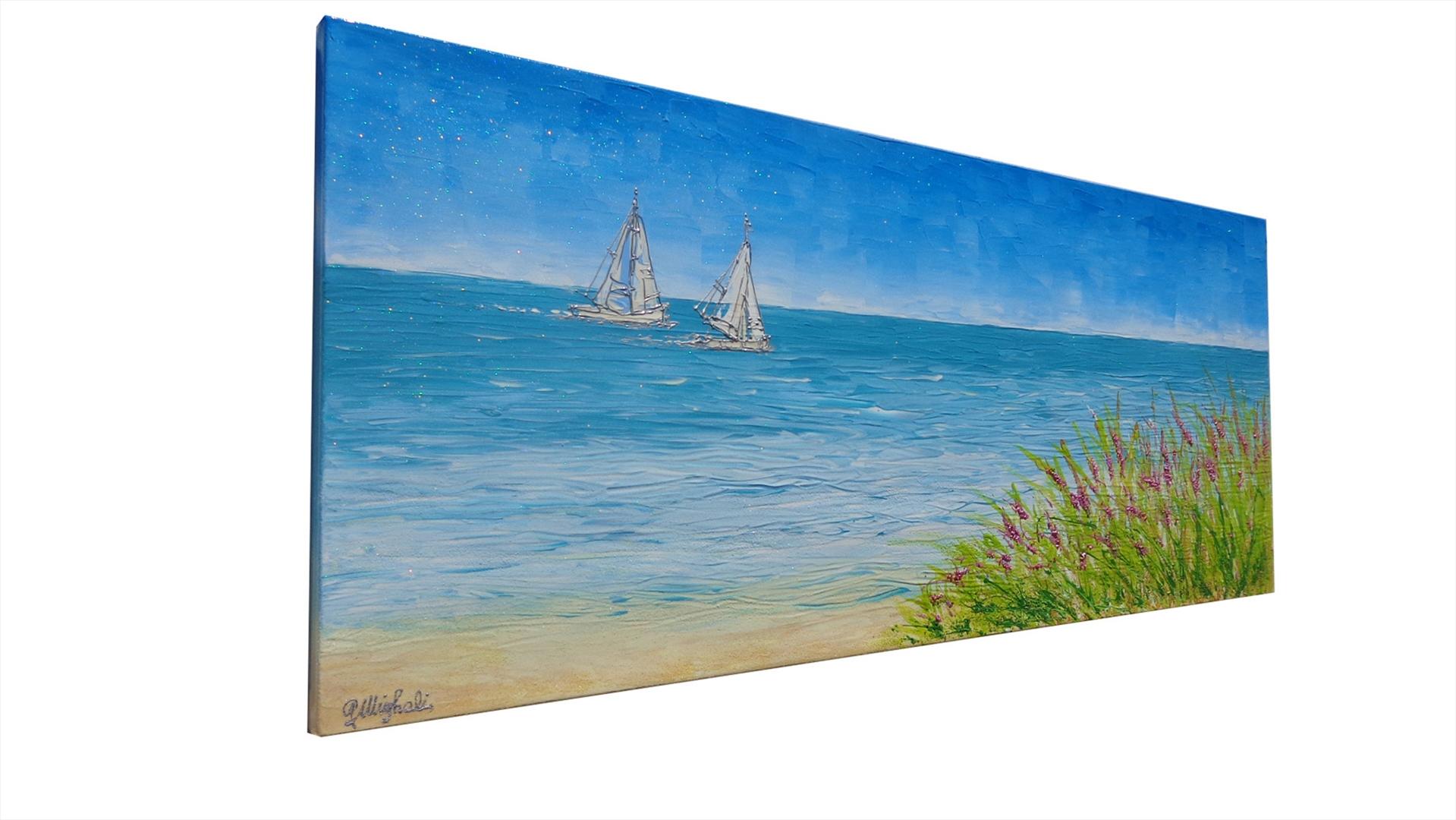 Paesaggio di mare con barche   Vendita Quadri Online   Quadri ...