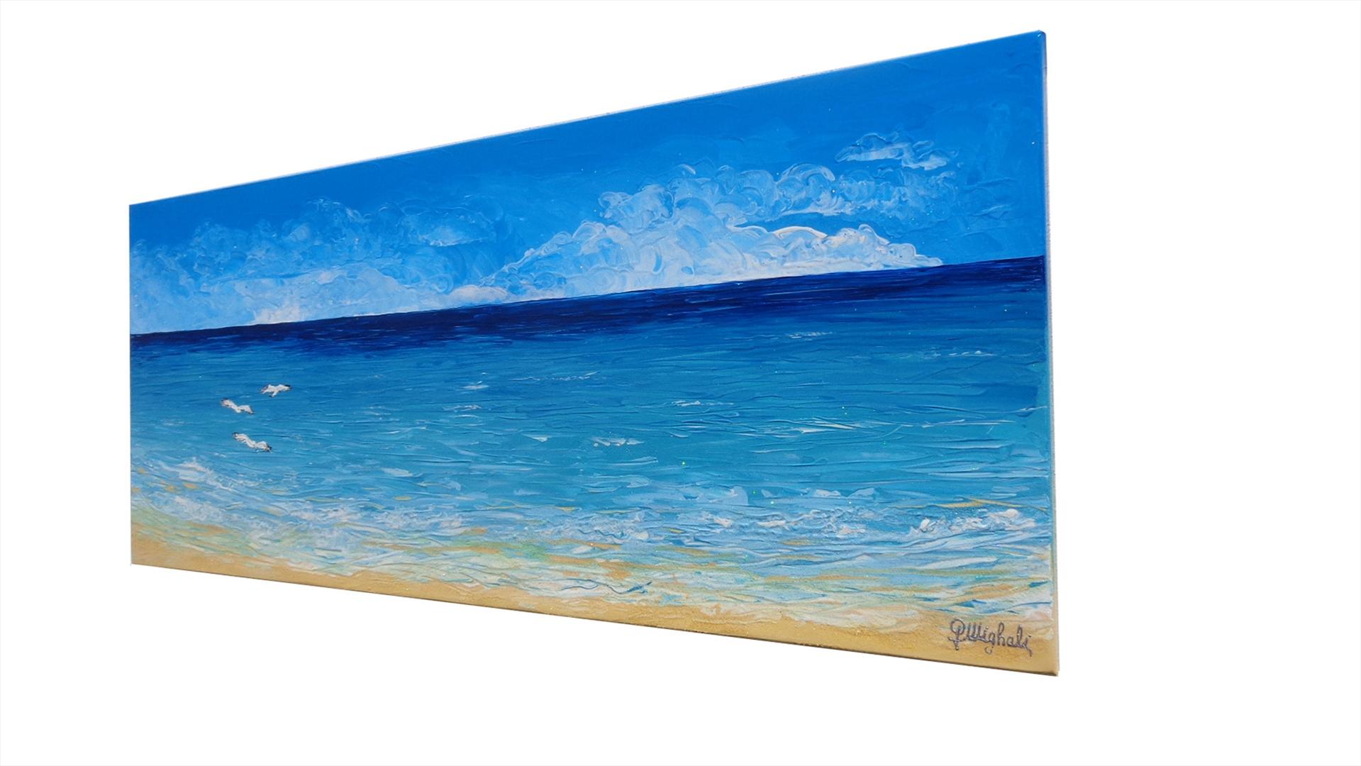Paesaggio di mare con gabbiani vendita quadri online for Immagini quadri astratti moderni