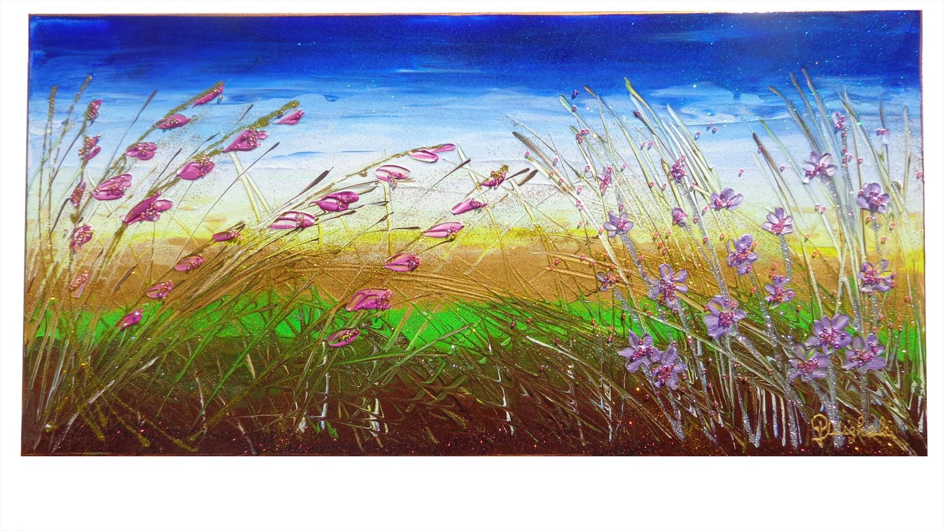 Paesaggio piccolo con fiori vendita quadri online for Immagini di quadri con fiori