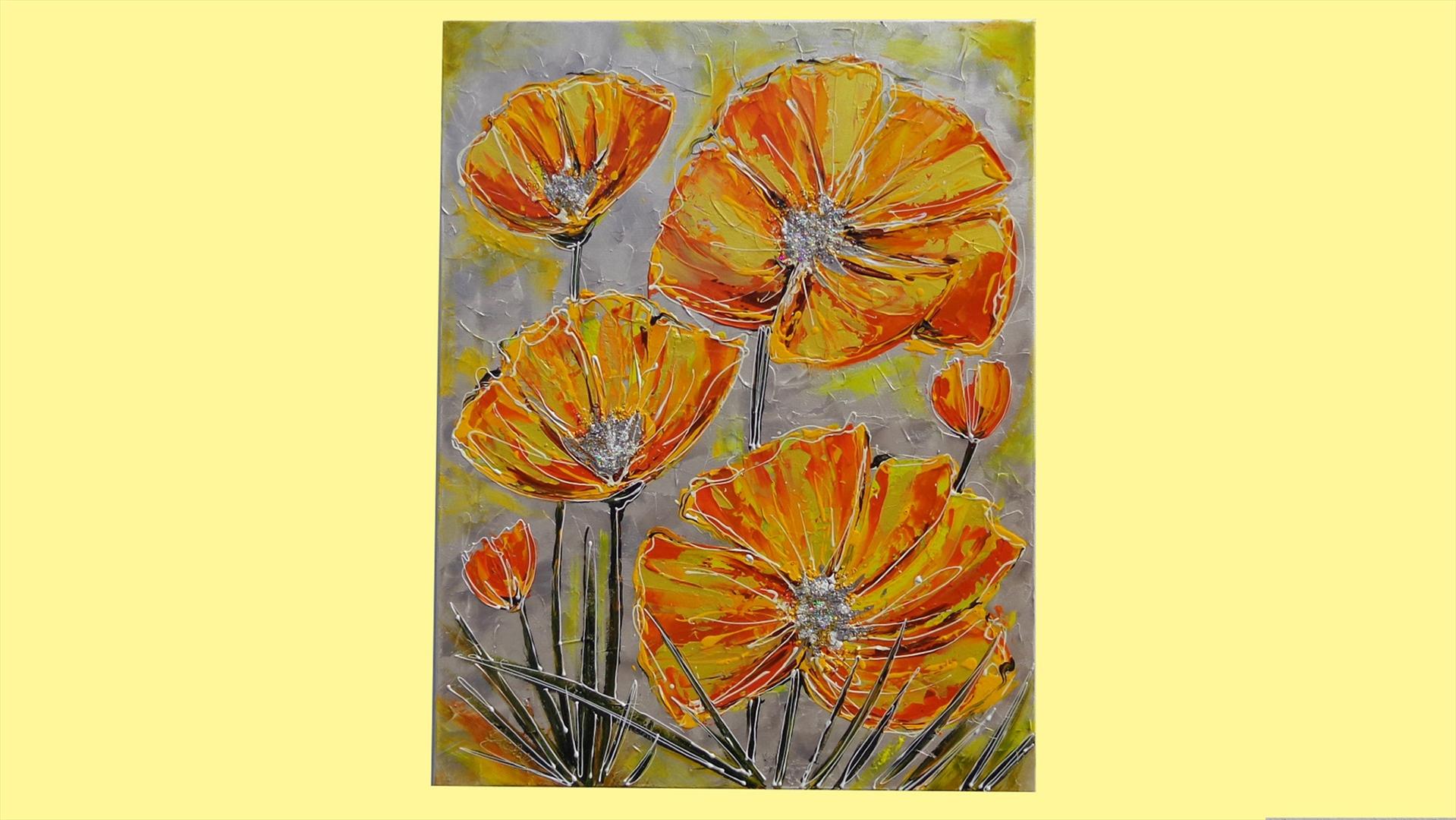 Papaveri moderni arancioni vendita quadri online for Dipinti a mano moderni