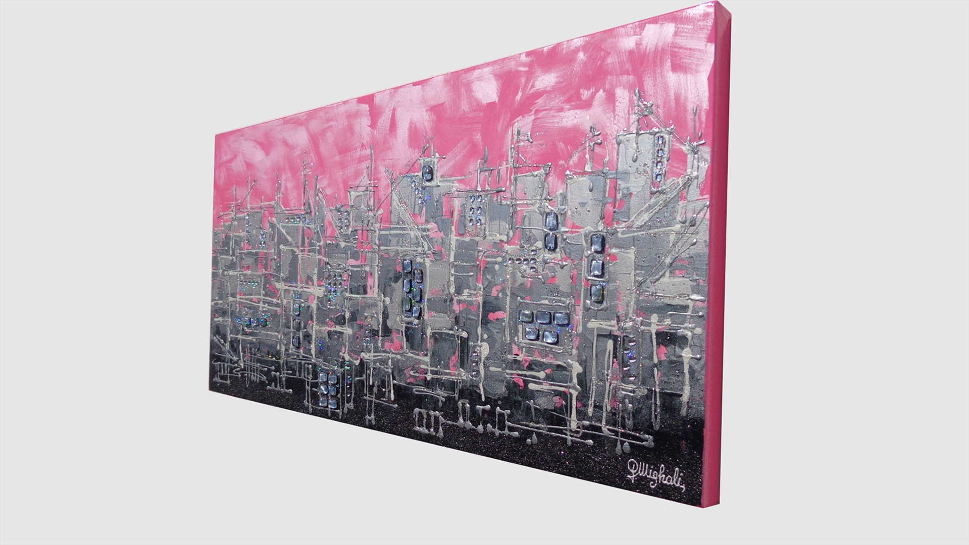 Pink city citt rosa vendita quadri online quadri for Quadri materici astratti