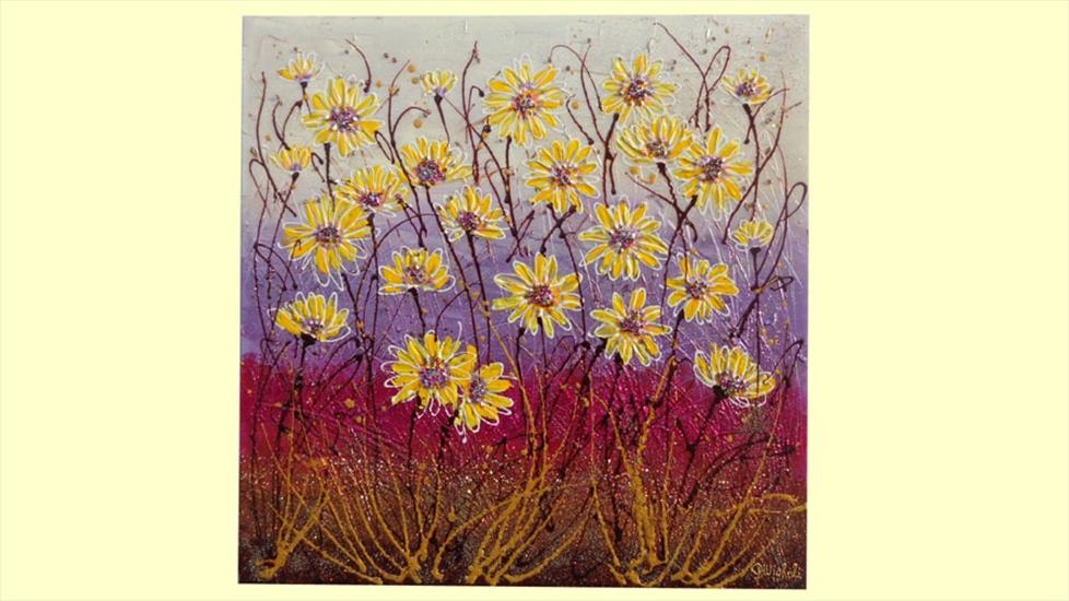 Margherite gialle astratte moderne vendita quadri online for Vendita cornici per quadri