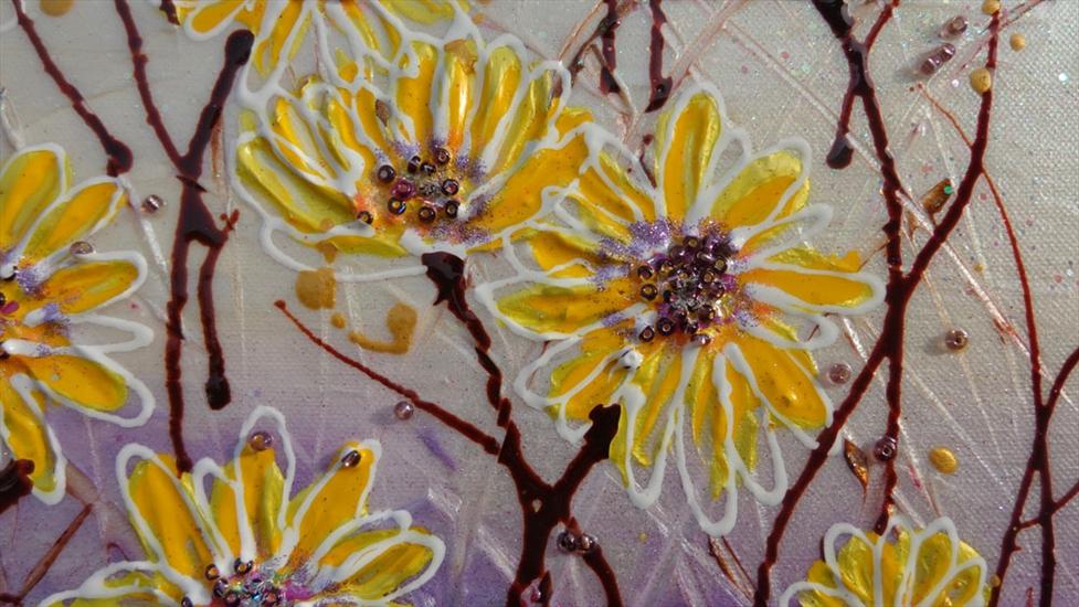 margherite gialle astratte moderne vendita quadri online ForImmagini Astratte Moderne