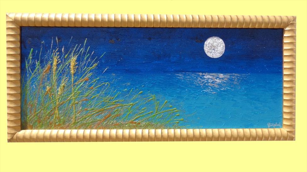 Mare di notte con luna vendita quadri online quadri for Quadri dipinti a mano paesaggi