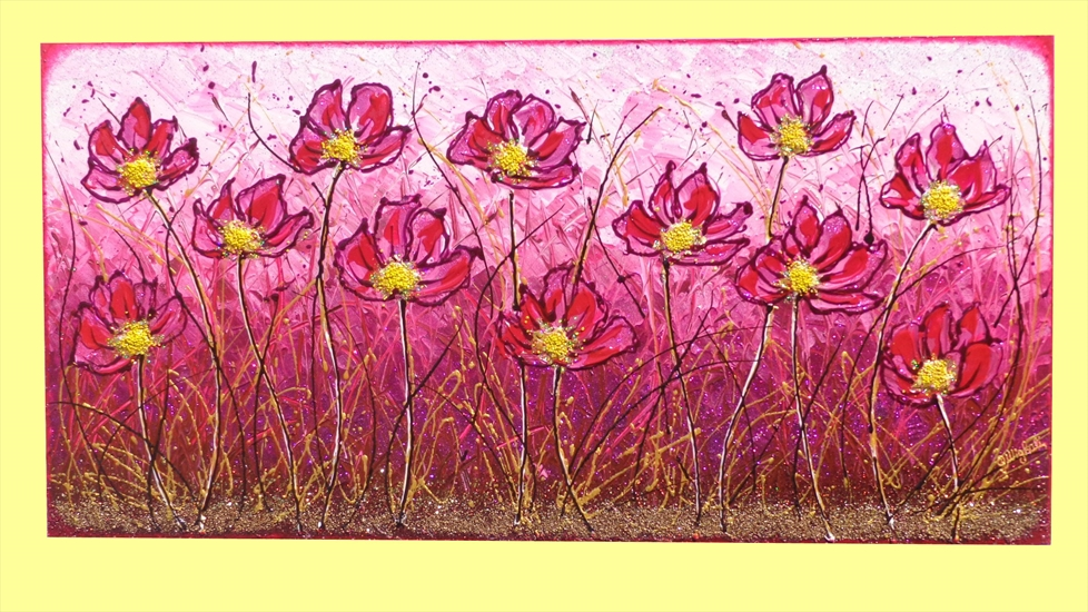 Campo di fiori in fucsia vendita quadri online quadri for Quadri moderni dipinti su tela