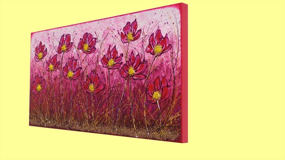 Campo di fiori in fucsia vendita quadri online quadri for Quadri moderni fiori dipinti a mano