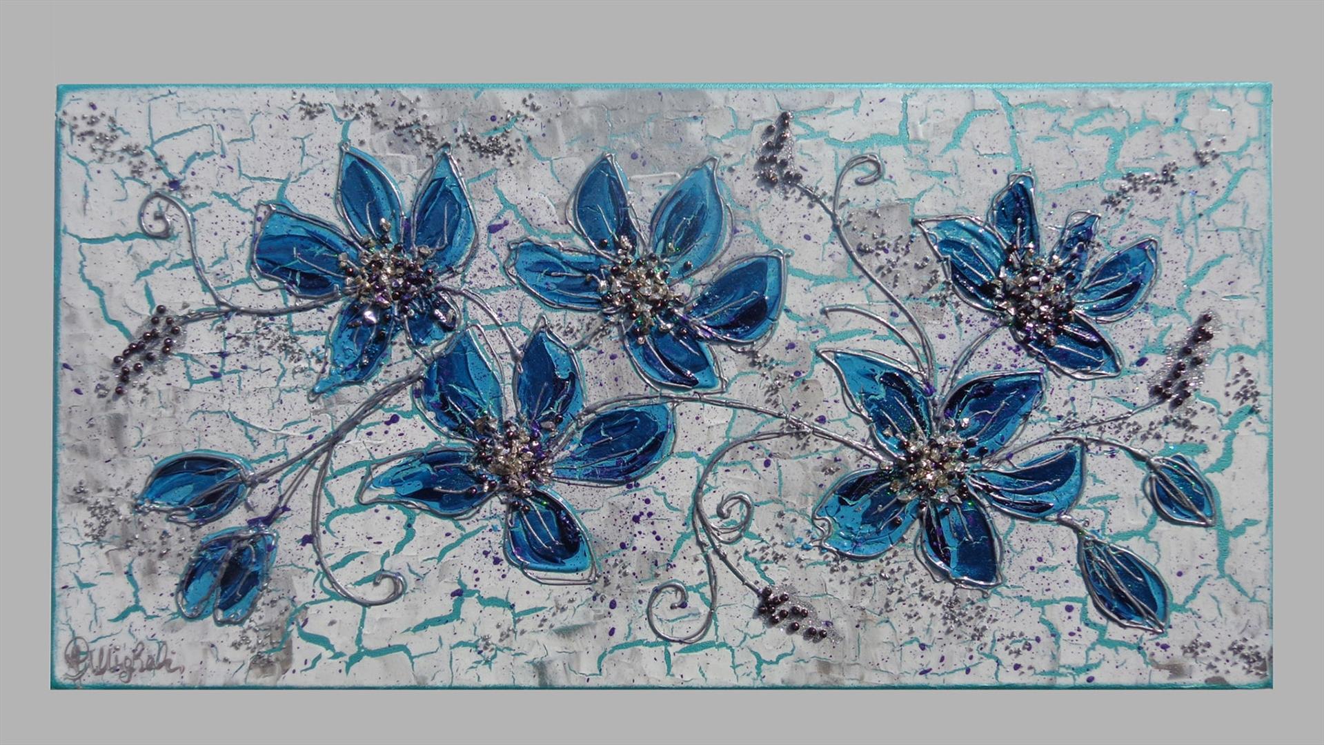 Ramo fiori blu | Vendita Quadri Online | Quadri moderni | Quadri ...
