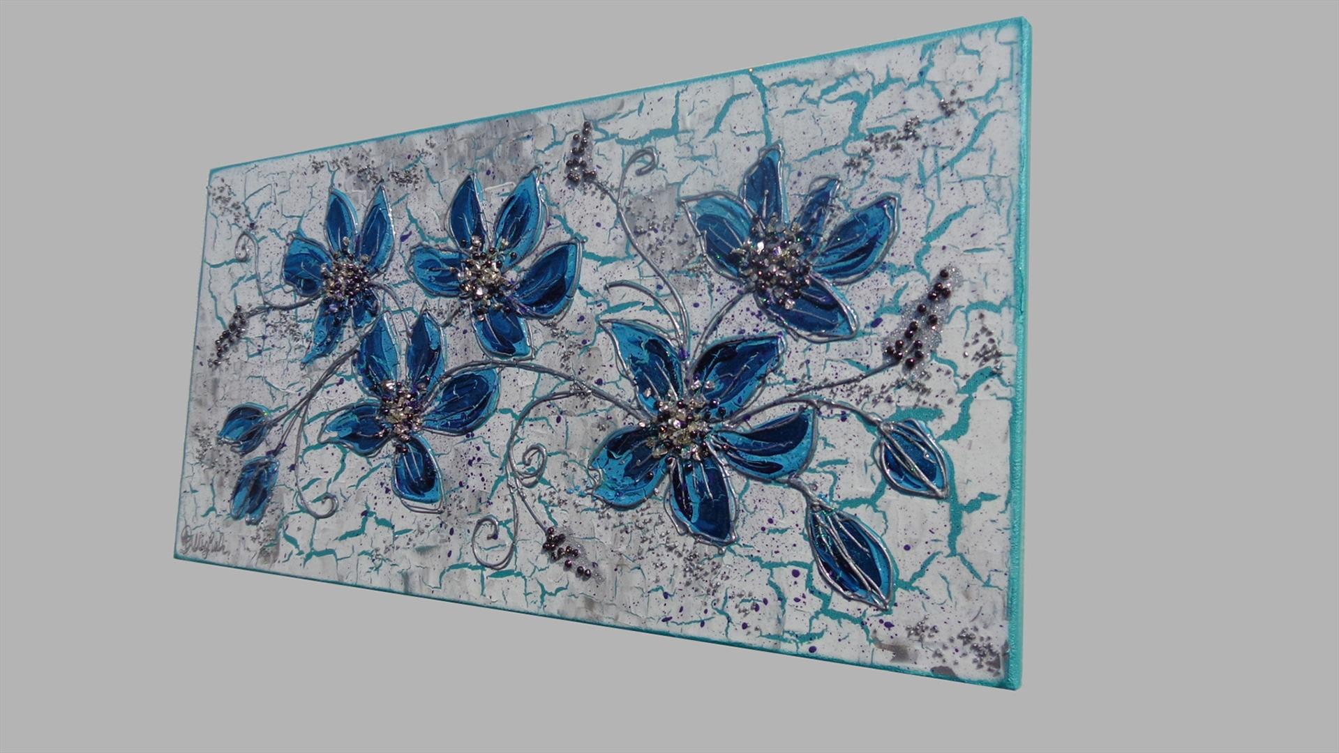 Ramo fiori blu vendita quadri online quadri moderni for Quadri moderni fiori dipinti a mano