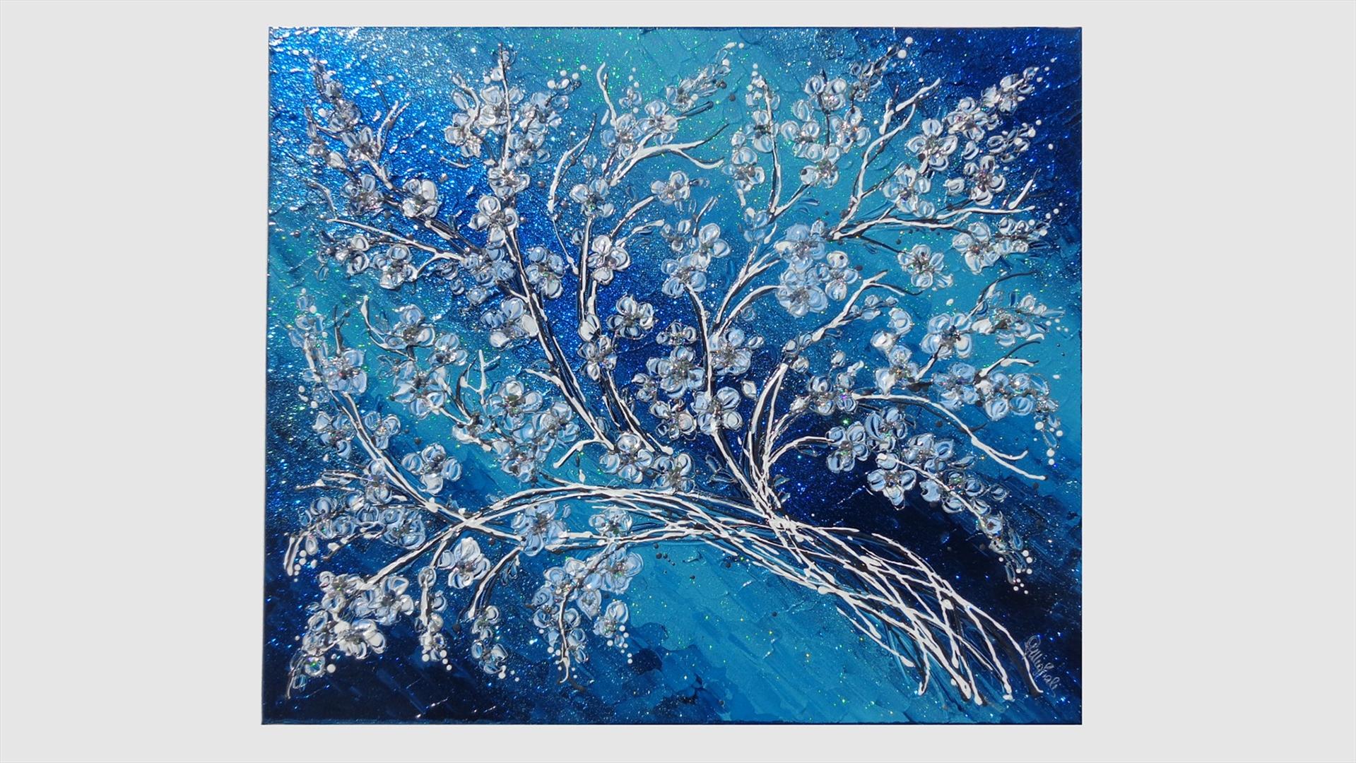 Fiori di pesco in blu vendita quadri online quadri for Immagini di quadri con fiori
