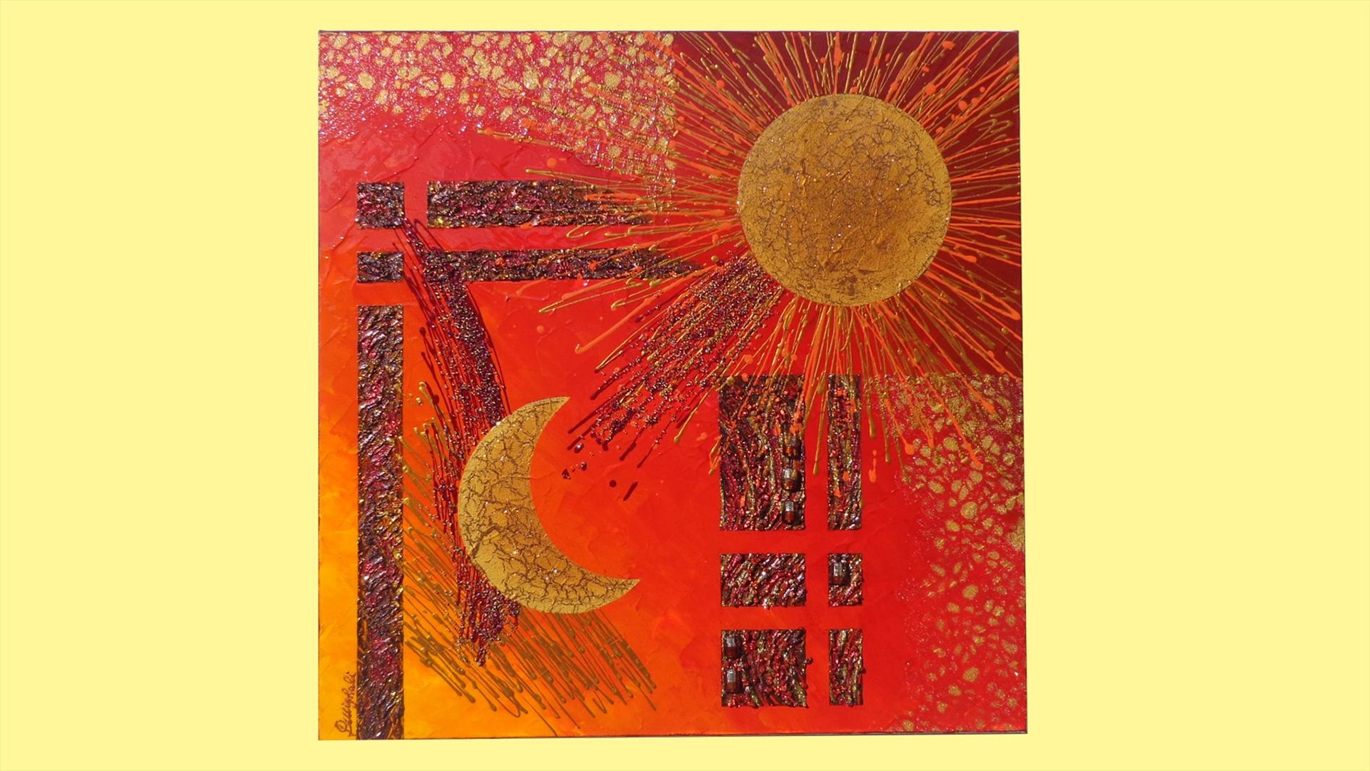 Sole e luna in rosso vendita quadri online quadri for Quadri foto
