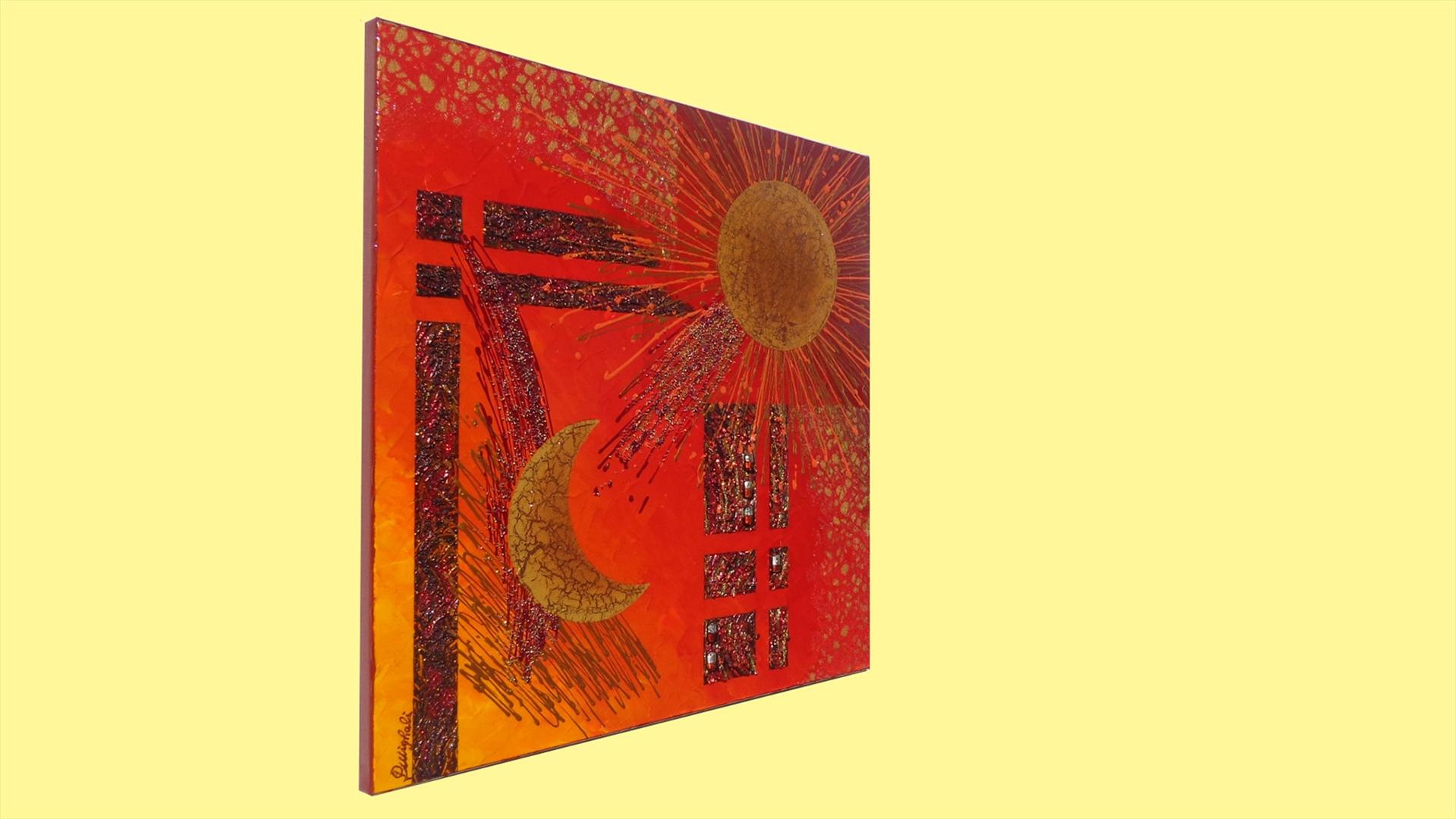 Sole e luna in rosso vendita quadri online quadri for Quadri astratti vendita