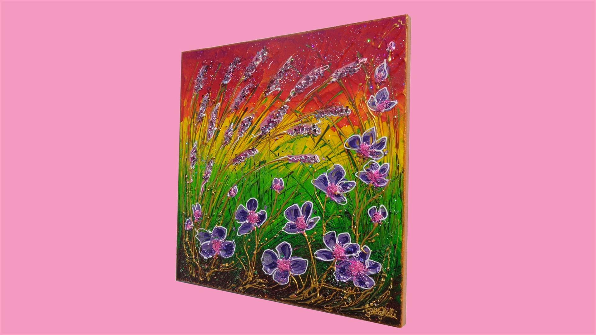 Spighe e fiori viola vendita quadri online quadri for Immagini quadri fiori