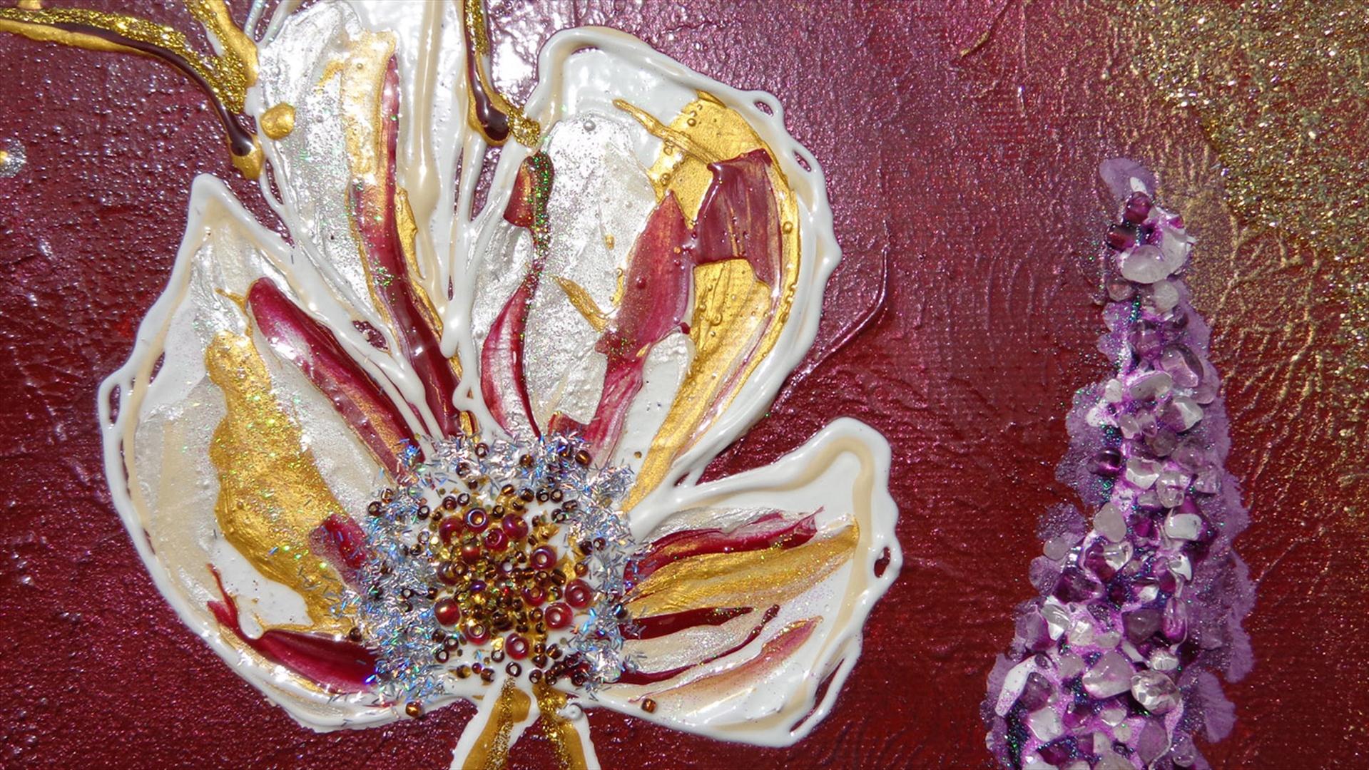 Trittico fiori in rilievo vendita quadri online quadri for Quadri astratti dipinti a mano