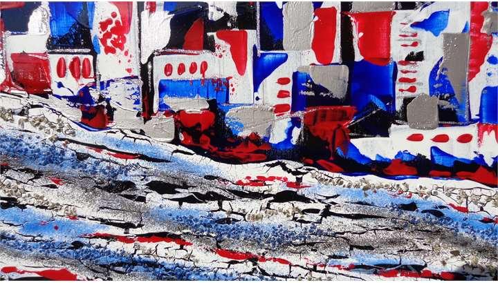 Citt astratta in rosso e in blu vendita quadri online for Quadri astratti on line