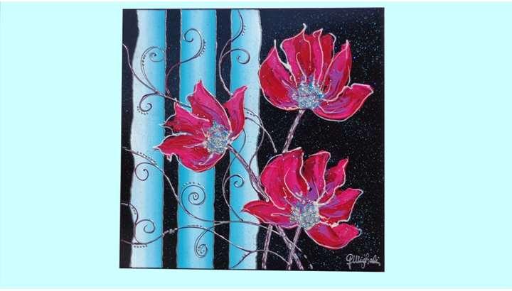 Farfalla fiore blu vendita quadri online quadri for Decorazione floreale