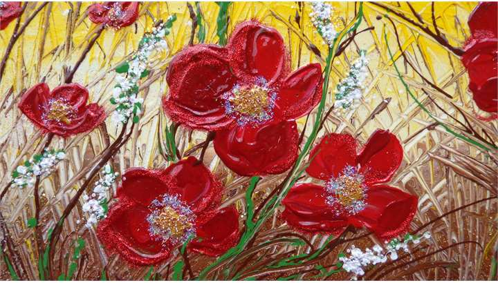 Fiori rossi rampicanti vendita quadri online quadri for Vendita dipinti online
