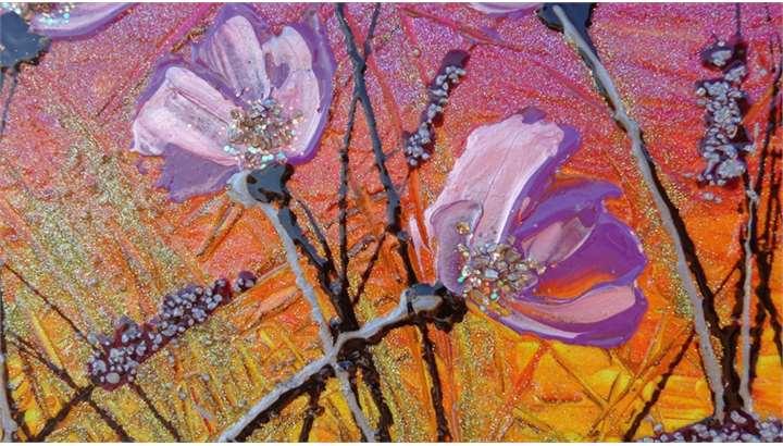 Fiori lilla al tramonto vendita quadri online quadri for Quadri fiori stilizzati