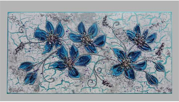 Fiori di pesco in blu vendita quadri online quadri for Quadri astratti online