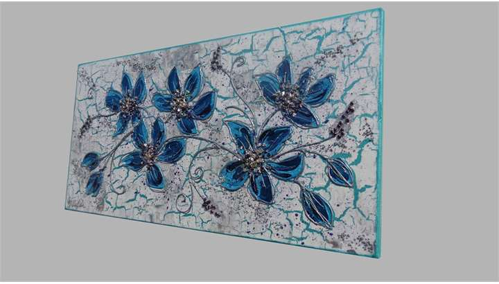 Quadri Moderni Fiori : Ramo fiori blu vendita quadri online moderni