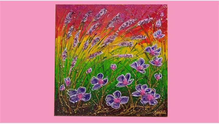 Spighe e fiori viola vendita quadri online quadri for Quadri moderni vendita
